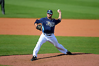 Tampa Bay Rays pitcher Adam Liberatore #74 during a Grapefruit League Spring Training game against the Boston Red Sox at Charlotte County Sports Park on February 25, 2013 in Port Charlotte, Florida.  Tampa Bay defeated Boston 6-3.  (Mike Janes/Four Seam Images)