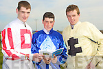 JOCKEY'S: John O'Connor (Rathkeale), Shane Tierney (Athea) and Gerry Mangan (Knocknagoshel) who were jockey in the North Kerry Harriers Point to Point Races in Ballybunion on Saturday.................................. ....