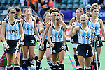 The Hague, Netherlands, June 14: Players of Argentina celebrate after the field hockey bronze medal match (Women) between USA and Argentina on June 14, 2014 during the World Cup 2014 at Kyocera Stadium in The Hague, Netherlands. Final score 2-1 (2-1)  (Photo by Dirk Markgraf / www.265-images.com) *** Local caption ***