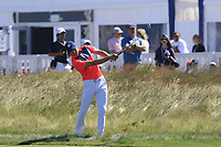 Jordan Spieth (USA) plays his 2nd shot on the 16th hole during Thursday's Round 1 of the 118th U.S. Open Championship 2018, held at Shinnecock Hills Club, Southampton, New Jersey, USA. 14th June 2018.<br /> Picture: Eoin Clarke | Golffile<br /> <br /> <br /> All photos usage must carry mandatory copyright credit (&copy; Golffile | Eoin Clarke)