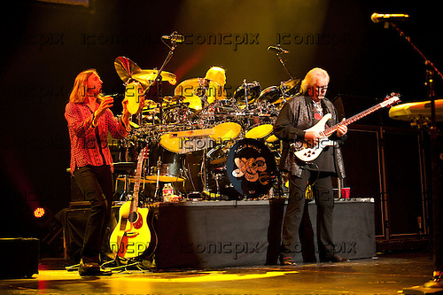 YES - L-R: Jon Davison, Alan White, Chris Squire - performing live at Gibson Amphitheatre in Universal City, CA USA - August 15, 2012.  Photo © Kevin Estrada/IconicPix