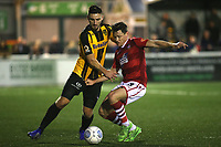 Jake Cassidy of Maidstone United and Wrexham's James Jennings challenge for the ball during Maidstone United vs Wrexham, Vanarama National League Football at the Gallagher Stadium on 17th November 2018