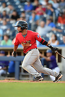 Frisco Rough Riders designated hitter Tomas Telis (13) at bat during the second game of a doubleheader against the Tulsa Drillers on May 29, 2014 at ONEOK Field in Tulsa, Oklahoma.  Frisco defeated Tulsa 3-2.  (Mike Janes/Four Seam Images)