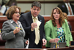 Nevada Assembly Democrats, from left, Debbie Smith, Marcus Conklin and Marilyn Kirkpatrick work on the Assembly floor Wednesday, May 25, 2011, at the Legislature in Carson City, Nev. .Photo by Cathleen Allison