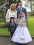 Jessica Ryan who received first holy communion in St Cianan's church Duleek with her family Jamie, Jennifer and Ciaran.<br /> <br /> Photo-Jenny Matthews