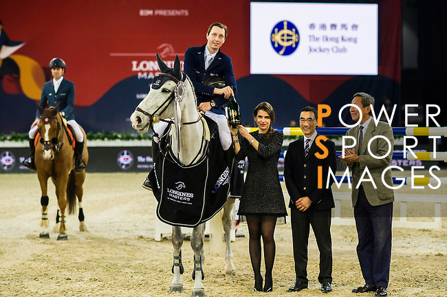 Martin Fuchs of Switzerland riding on Clooney wins the Hong Kong Jockey Club Trophy, part of the Longines Masters of Hong Kong on 10 February 2017 at the Asia World Expo in Hong Kong, China. Photo by Juan Serrano / Power Sport Images