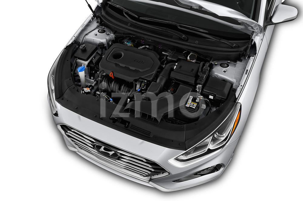 Car stock 2018 Hyundai Sonata SEL 4 Door Sedan engine high angle detail view