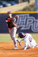 Brandon Howard (11) of the Bowling Green Falcons turns a double play as Josh Spano (21) of the High Point Panthers slides into second base at Willard Stadium on March 9, 2014 in High Point, North Carolina.  The Falcons defeated the Panthers 7-4.  (Brian Westerholt/Four Seam Images)