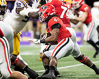 ATLANTA, GA - DECEMBER 7: James Cook #4 of the Georgia Bulldogs runs with the ball during a game between Georgia Bulldogs and LSU Tigers at Mercedes Benz Stadium on December 7, 2019 in Atlanta, Georgia.