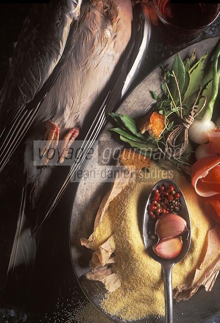 Gastronomie générale / Cuisine générale :Ingrédients des   Salmis de palombe et cruchade