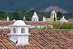 Latin America, Guatemala, Antigua, Tile Roofs with Chimneys