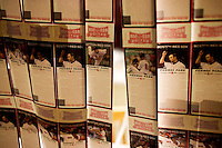 Tickets with photos of Red Sox players hang in the window of the ticket office at Fenway Park on the night before the 2011 Red Sox season opener in Boston, Massachusetts, USA.