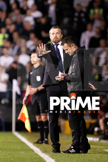 Fulham manager, Slavisa Jokanovic gesticulates during the Sky Bet Championship play off semi final 2nd leg match between Fulham and Derby County at Craven Cottage, London, England on 15 May 2018. Photo by Carlton Myrie / PRiME Media Images.