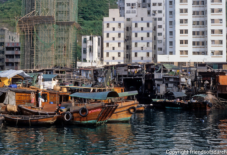 Hong Kong: Aberdeen--old housing and new. Photo '81.