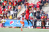 College Park, MD - October 27, 2018: Maryland Terrapins wide receiver Taivon Jacobs (12) catches a pass during the  game between Illinois and Maryland at  Capital One Field at Maryland Stadium in College Park, MD.  (Photo by Elliott Brown/Media Images International)