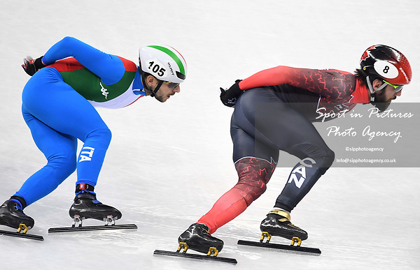 Charles Hamelin (CAN, 8) and Yuri Confortola (ITA). Short track. Gangneung ice arena. Pyeongchang2018 winter Olympics. Gangneung. Republic of Korea. 10/02/2018. ~ MANDATORY CREDIT Garry Bowden/SIPPA - NO UNAUTHORISED USE - +44 7837 394578