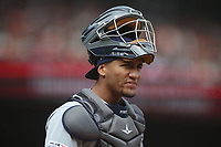 SAN FRANCISCO, CA - APRIL 5:  Michael Perez #7 of the Tampa Bay Rays works behind the plate against the San Francisco Giants during the game at Oracle Park on Friday, April 5, 2019 in San Francisco, California. (Photo by Brad Mangin)