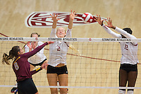 STANFORD, CA - August 28, 2016: Kathryn Plummer, Inky Ajanaku at Maples Pavilion. The Stanford Cardinal defeated the University of Minnesota 3-1.