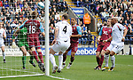 West Ham's Jonathan Spector clears off the line from an during the Premier League match at the Reebok Stadium, Bolton. Picture date 12th April 2008. Picture credit should read: Simon Bellis/Sportimage
