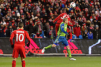 Toronto, ON, Canada - Saturday Dec. 10, 2016: Armando Cooper, Osvaldo Alonso during the MLS Cup finals at BMO Field. The Seattle Sounders FC defeated Toronto FC on penalty kicks after playing a scoreless game.