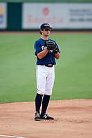 Lakeland Flying Tigers third baseman Zac Shepherd (4) during the first game of a doubleheader against the St. Lucie Mets on June 10, 2017 at Joker Marchant Stadium in Lakeland, Florida.  Lakeland defeated St. Lucie 6-5 in fourteen innings.  (Mike Janes/Four Seam Images)