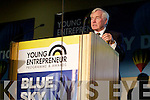 Fergal Quinn giving business advice to the young entrepreneurs at the 2011 Blue Sky Day at the Brandon hotel.