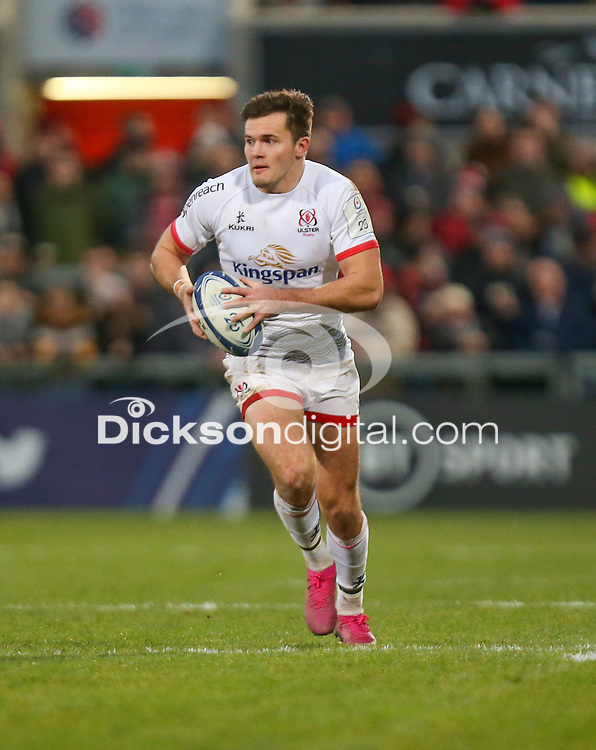 Saturday 7th December 2019   Ulster Rugby vs Harlequins<br /> <br /> Jacob Stockdale during the Heineken Champions Cup Round 3 clash in Pool 3, between Ulster Rugby and Harlequins at Kingspan Stadium, Ravenhill Park, Belfast, Northern Ireland. Photo by John Dickson / DICKSONDIGITAL