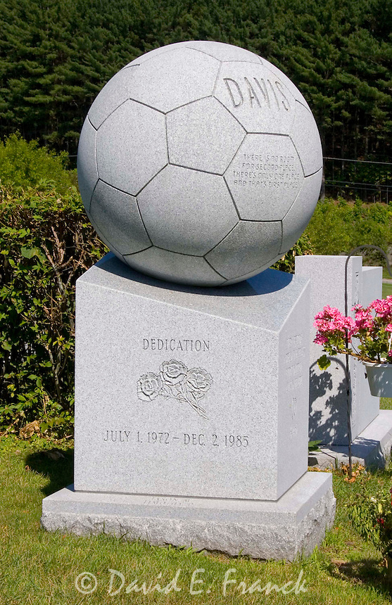 Soccer Ball gravestone at the Hope Cemetery in Barre, Vermont the granite capital of the world.