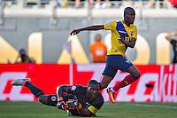 Action photo during the match Ecuador vs Haiti at MetLife Stadium Copa America Centenario 2016. ---Foto  de accion durante el partido Ecuador vs Haiti, En el Estadio MetLife Partido Correspondiante al Grupo - B -  de la Copa America Centenario USA 2016, en la foto: (i)-(d) Johny Placide, Enner Valencia<br /> <br /> -- 12/06/2016/MEXSPORT/Javier Ramirez.