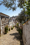 Cobbled street in Judiara the former Jewish part of Castelo de Vide, Alto Alentejo, Portugal, southern Europe