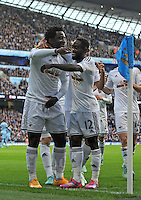 Picture: Andrew Roe/AHPIX LTD, Football, Barclays Premier League, Manchester City v Swansea City, 22/11/14, Etihad Stadium, K.O 3pm<br /> <br /> Swansea's Wilfred Bony celebrates his goal with Nathan Dyer<br /> <br /> Andrew Roe>>>>>>>07826527594