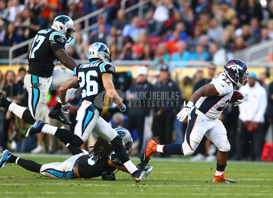 Feb 7, 2016; Santa Clara, CA, USA; Denver Broncos running back C.J. Anderson (22) against the Carolina Panthers in Super Bowl 50 at Levi's Stadium. Mandatory Credit: Mark J. Rebilas-USA TODAY Sports
