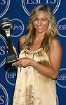 Professional snowboarder Gretchen Bleiler poses with her Best Female Action Sport Athlete award in the press room at the 2008 ESPY Awards held at NOKIA Theatre L.A. LIVE on July 16, 2008 in Los Angeles, California.