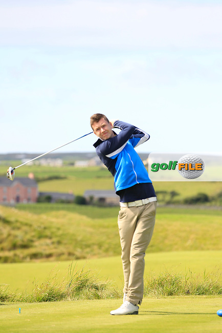 Andrew McGee (Powerscourt) on the 14th tee during Round 2 of The South of Ireland in Lahinch Golf Club on Sunday 27th July 2014.<br /> Picture:  Thos Caffrey / www.golffile.ie