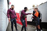 Cameron Carter-Vickers and Nathan Dyer of Swansea City arrive for the Sky Bet Championship match between Brentford and Swansea City at Griffin Park, Brentford, England, UK. Saturday 08 December 2018
