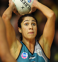 Thunderbirds goal defence Mo'onia Gerrard during the ANZ Netball Championship match between the Waikato Bay of Plenty Magic and Adelaide Thunderbirds, Mystery Creek Events Centre, Hamilton, New Zealand on Sunday 19 July 2009. Photo: Dave Lintott / lintottphoto.co.nz