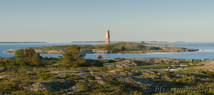 Early morning tranquility at Lyökki Daybeacon located on rocky Pookinmaa Island off the Southwest coast of Finland near Pyhämaa. Built of stone in 1757, it is Finland's oldest beacon and recently renovated.