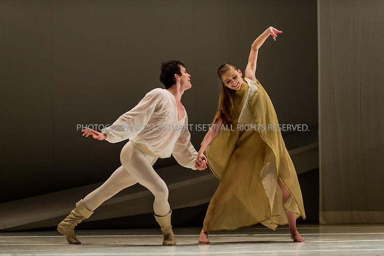 """1/31/2013-- Seattle, WA, USA..""""Romeo and Juliet"""" performed at the Pacific Northwest Ballet. Carla Korbes, 31, a principal dancer with the Pacific Northwest Ballet in Seattle, WASH. performs with Seth Orza , 31, originally from San Francisco...In his version of Roméo et Juliette, choreographer Jean-Christophe Maillot has taken formal inspiration from the episodic character of Sergei Prokofiev's classic score, structuring the action in a manner akin to cinematic narrative. Rather than focusing on themes of political-social opposition between the two feuding clans, this Romeo and Juliet highlights the dualities and ambiguities of adolescence. Torn between contradictory impulses, between tenderness and violence, fear and pride, the lovers are caught in the throes of a tragedy that exemplifies their youth and the extreme emotions and internal conflicts that characterize that time of life?a time of life when destiny, more than at any other moment, seems to escape conscious control, and when the inner turmoil occasioned by passions and ideals can sometimes have disproportionate?even fatal?consequences. In evoking this fragile and volatile state of being, the painter Ernest Pignon-Ernest has created a decor marked by transparency and lightness: a play of simple forms that reveals an underlying complexity of meaning...©2013 Stuart Isett. All rights reserved."""