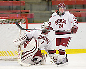 Laura Bellamy (Harvard - 1), Leanna Coskren (Harvard - 24) - The Harvard University Crimson defeated the Boston College Eagles 5-0 in their Beanpot semi-final game on Tuesday, February 2, 2010 at the Bright Hockey Center in Cambridge, Massachusetts.