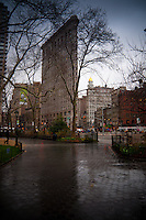 Moody and rainy Flatiron building, Manhattan, NYC