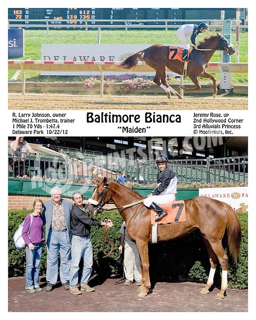 Baltimore Bianca winning at Delaware Park on 10/22/12