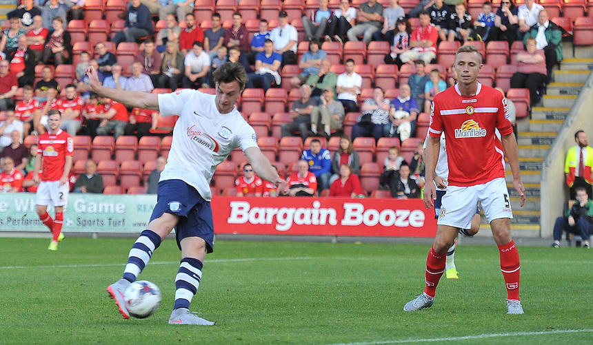 Preston North End's Will Keane scores his sides 2nd goal<br /> <br /> Photographer Dave Howarth/CameraSport<br /> <br /> Football - Capital One Cup First Round - Crewe Alexandra v Preston North End - Wednesday 12th August 2015 - Alexandra Stadium - Crewe<br />  <br /> &copy; CameraSport - 43 Linden Ave. Countesthorpe. Leicester. England. LE8 5PG - Tel: +44 (0) 116 277 4147 - admin@camerasport.com - www.camerasport.com