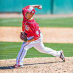 28 February 2016: Washington Nationals pitcher Paolo Espino on the mound during an inter-squad pre-season Spring Training game at Space Coast Stadium in Viera, Florida. Mandatory Credit: Ed Wolfstein Photo *** RAW (NEF) Image File Available ***