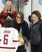 Kaliya Johnson (BC - 6), ?, Kelli Johnson, Courtney Kennedy (BC - Associate Head Coach) - The Boston College Eagles defeated the visiting Providence College Friars 7-1 on Friday, February 19, 2016, at Kelley Rink in Conte Forum in Boston, Massachusetts.