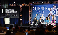 PASADENA, CA - FEBRUARY 10:  Courteney Monroe, President of National Geographic Global Networks, Ryan Folz, Abraham Riedel-Mishaan, Myllena Braz Da Silva, Cristina Costantini, Darren Foster, Dr. Serena McCalla and Anjali Chadha attends the Science Fair panel at the 2019 National Geographic portion of the Television Critics Association Winter Press Tour at The Langham Huntington Hotel on February 10, 2019 in Pasadena, California. (Photo by Vince Bucci/National Geographic/PictureGroup)