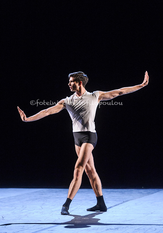 London, UK. 22.11.2017. 'Men in Motion' Ivan Putrov's celebration of the male dancer returns to the London Coliseum,  22-23 Nov 2017. Photo shows: Giovanni Princic performing 'Ballet 101' by Eric Gauthier. Photo - © Foteini Christofilopoulou.