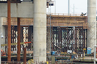 East Towers and Cast-in-place box Girder, New Pearl Harbor Memorial Bridge under Construction at New Haven Harbor Crossing, Connectictut. CONNDOT Contract B, Project #92-618. When complete the alternately named Quinnipiac River Bridge will be first Extradosed Engineered & Designed Bridge in the United States.