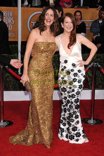 Jennifer Garner & Julianne Moore (wearing Chanel).Arrivals at the 19th Annual Screen Actors Guild Awards at the Shrine Auditorium in Los Angeles, California, USA..27th January 2013.SAG SAGs full length dress gold beads beaded sequins sequined white black low cut neckline floral print strapless hand on hip smiling mouth open.CAP/ADM/BP.©Byron Purvis/AdMedia/Capital Pictures