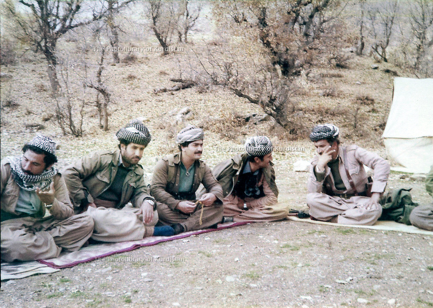 Iraq 1980 <br /> In Nawzang, right, Mullazem Omar Abdallah with peshmergas   <br /> Irak 1980 <br /> A Nawzang, a droite , Mullazem Omar Abdallah et des peshmergas