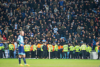 Police line up hoping to stop a pitch invasion in the last few minutes during the The Checkatrade Trophy - EFL Trophy Semi Final match between Coventry City and Wycombe Wanderers at the Ricoh Arena, Coventry, England on 7 February 2017. Photo by Andy Rowland.